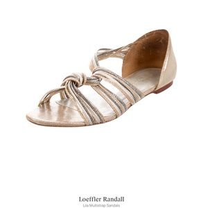 Loeffler Randall Couture Metallic Flat Sandals 6.5